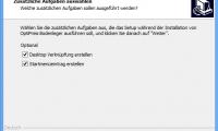 Sie können optional Verknüpfungen für den Desktop erstellen, um das Programm zu starten.