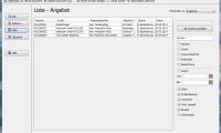 Liste über alle erstellten Angebote mit Filter- & Suchfunktion